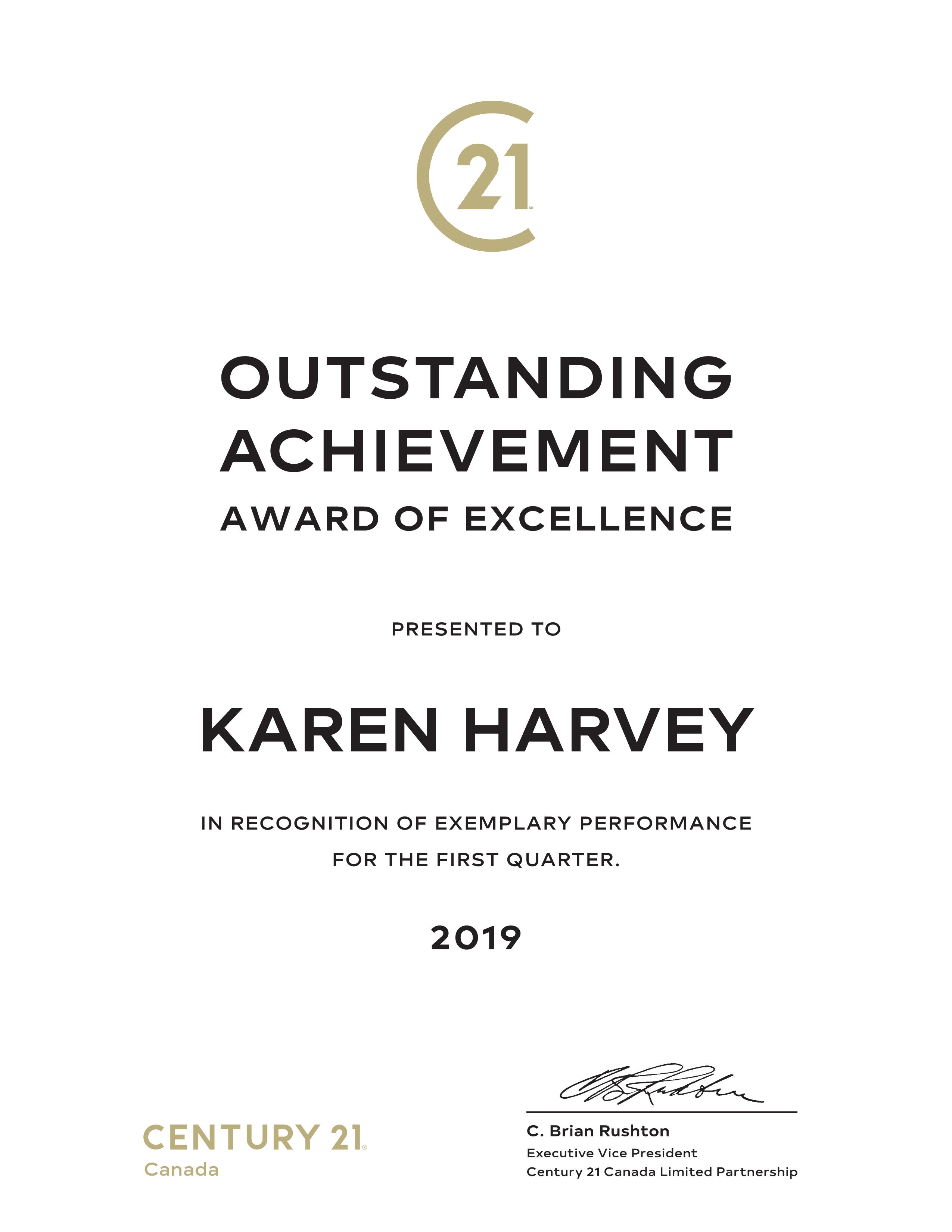 Century 21 Outstanding Achievement Award - Karen Harvey Real Estate